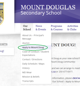 apply to mt doug